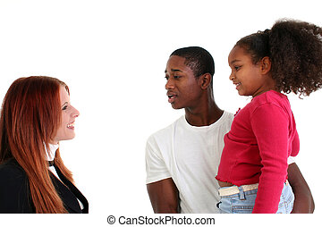 Social Worker - Social worker visiting dad and daughter over...