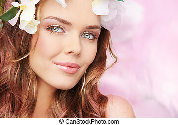 Spring blush - Portrait of a charming young lady waiting for...