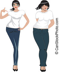 Fat and Slim Woman - Fat and slim woman in white t-shirt and...