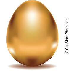 Golden Egg - Shiny golden egg, illustration was made with...