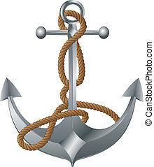 Metal Anchor - Old metal anchor with rope on white...