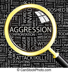 AGGRESSION. Background concept wordcloud illustration. Print...