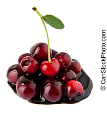 juicy cherry in a chocolate on a white background