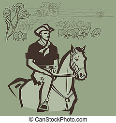 Cowboy herding sheep on the prairie vector illustration