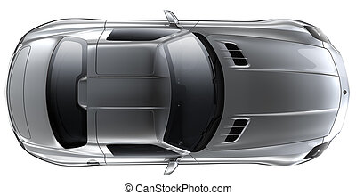 Silver roadster - top view - Silver roadster on a white...
