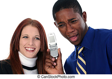 Interracial Couple Sharing Cellphone - Attractive...