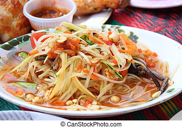 food - Som Tam is spicy green papaya salad Thai food