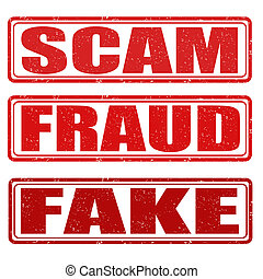 Scam, fraud and fake stamps - Scam, fraud and fake grunge...