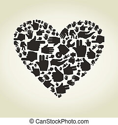 Hand heart - Heart made of hands. A vector illustration