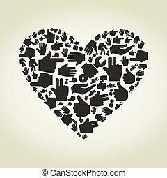 Hand heart - Heart made of hands. A vector illustration