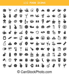 Food icon - Collection of icons of food and ware A vector...