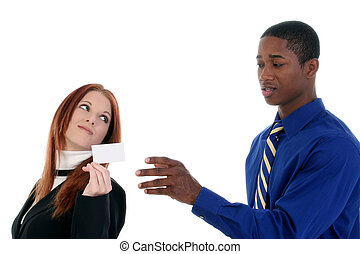 Business Man and Woman with Business Card