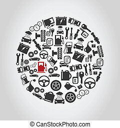 Car circle - Sphere made of cars. A vector illustration