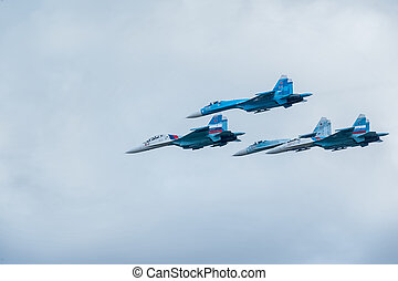 Military air fighters Su-27 - Nizhniy Tagil, Russia -...