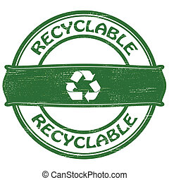 Recyclable - Stamp with word recyclable inside, vector...