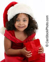 Christmas Girl - Beautiful three year old African American...