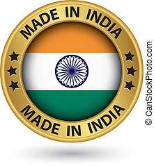 Made in India gold label, vector illustration
