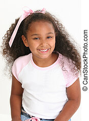 African American Girl Smiling - Beautiful five year old...