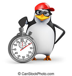 3d Penguin is timing you - 3d render of a penguin next to a...