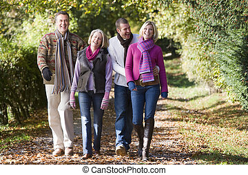 Parents and grown up children on walk - Parents and grown up...