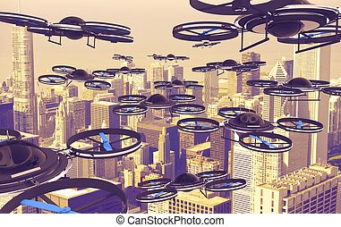 Drones Invasion. A Lot of Drones Above American City. 3D...
