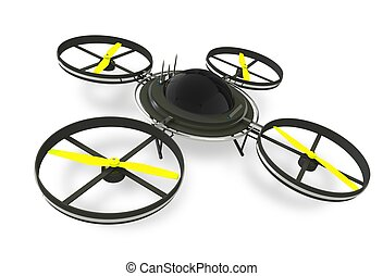 Quadcopter Dron Isolated on White Background Remote Aircraft...
