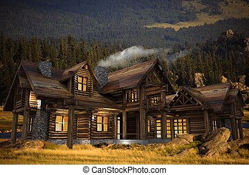 Log Home Illustration - Log Home on the Meadow 3D...