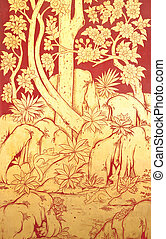 Old Thai style painting art in thai temple,Thailand. Generality in Thailand, any kind of art decorated in Buddhist church etc. created with money donated by people, no restrict in copy or use.