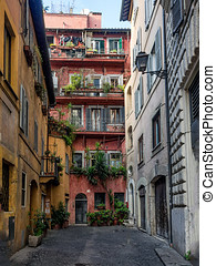 Street scene from Rome, Italy - Street scene from old part...