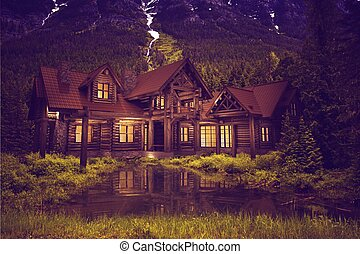 Log Home on the Lake - Beautiful Large Luxury Log Home on...