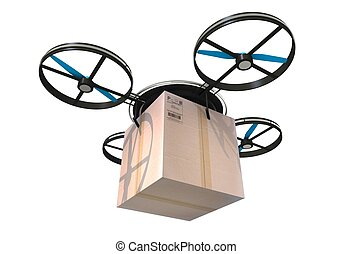 Package Delivery by Drone. Drone with Large Carton Box...