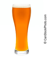Glass of IPA ale - Full glass of pale ale isolated on white...