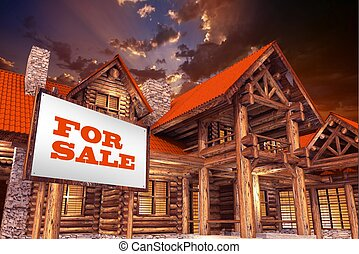 Log Home For Sale - Luxury Log Home For Sale with Large For...