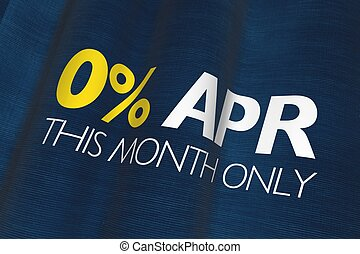 Zero Percent APR Dark Blue Linen Flag Business Concept.