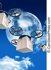 Overnight Shipping by Drones. 3D Drones with Packages...