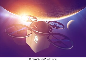 Drone Era. Quadcopter Drone with Package in the Space....