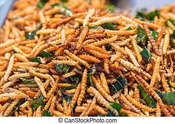 Tailandês, alimento, mercado, fritado, Insetos,...