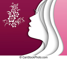 girl paper - beautiful girl head. vector