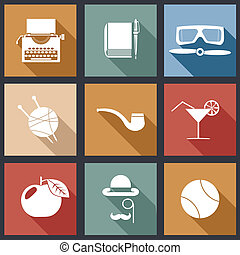 Retro Flat Design Hipster Detective Icons and Symbols Set Vector Illustration
