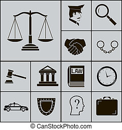 Law Justice Police Icons and Symbols Silhouette on Gray...