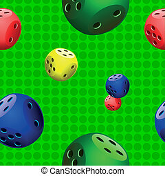 dices,seamples,pattern on green bac