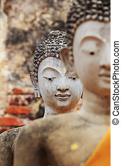 Face of the statue of Buddha at Ayutthaya Thailand.