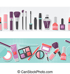 Seamless background with cosmetics sticker icons.