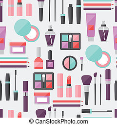 Seamless background with cosmetics icons.