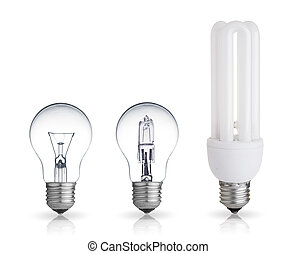 bulbs - three different bulbs isolated on white background