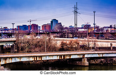 View of bridges over the Schuylkill River and West Philadelphia, Pennsylvania.