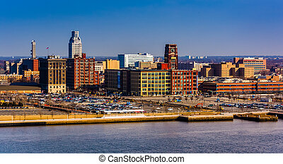 Camden, New Jersey seen from the Ben Franklin Bridge...