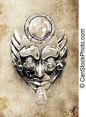 máscara, Totem, tatuagem, Esboço, feito...
