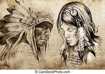 American indian woman, Tattoo sketch, handmade design over...