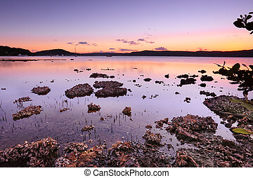 Tidal shallows at sunset sundown - Tidal shallows at sundown...